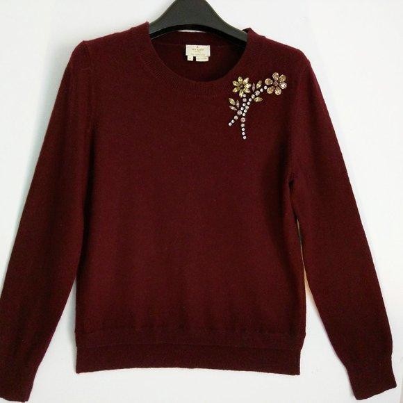 Sweater (NEW) - WOOL in Bejeweled Burgandy!